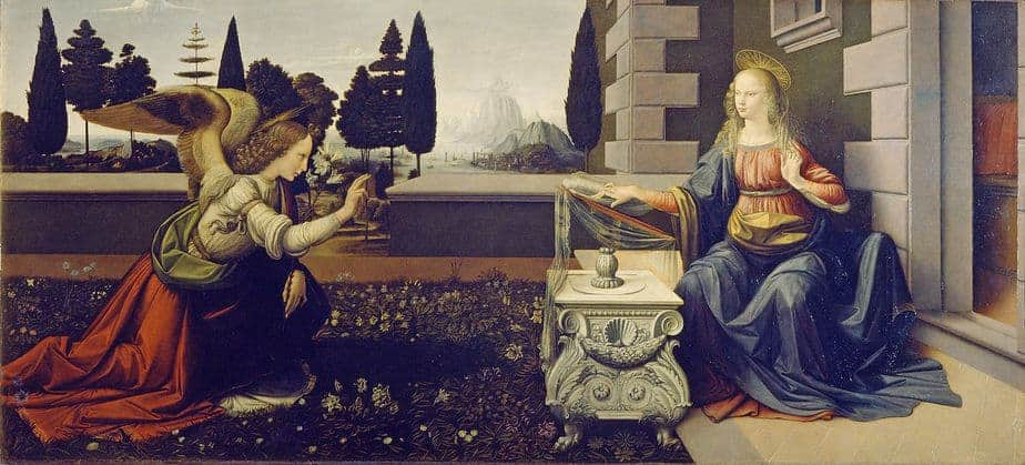 Annunciation Painting by Leonardo da Vinci.