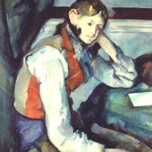 Boy in Red Vest Painting by Paul Cezanne.