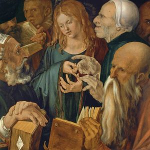 Christ among Doctors Painting by Albrecht Durer