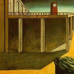 Gare Montparnasse Painting by Giorgio de Chirico.