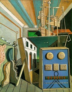 Metaphysical Interior with Biscuits Painting by Giorgio de Chirico.