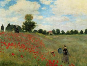 Poppy fields near Argenteuil Painting by Claude Monet.