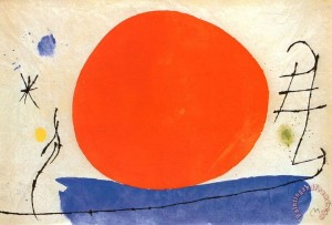 The Red Sun Painting by Joan Miro.
