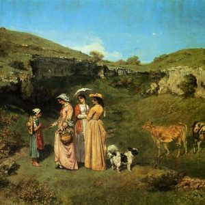 The Village Maidens Painting by Gustave Courbet.