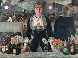 Impressionism art depicted by A Bar at the Folies Bergere - Famous Impressionist Painting