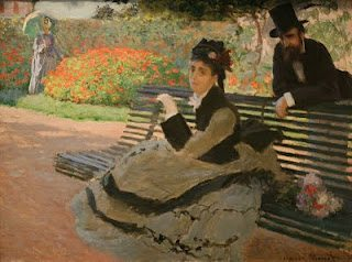 Camille Monet on a Garden Bench by claude monet