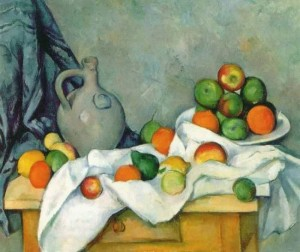 Nature in Art depicted by Curtain, Jug and Fruit Bowl