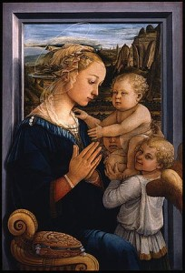 Love in Art depicted by Madonna and Child and Two Angels
